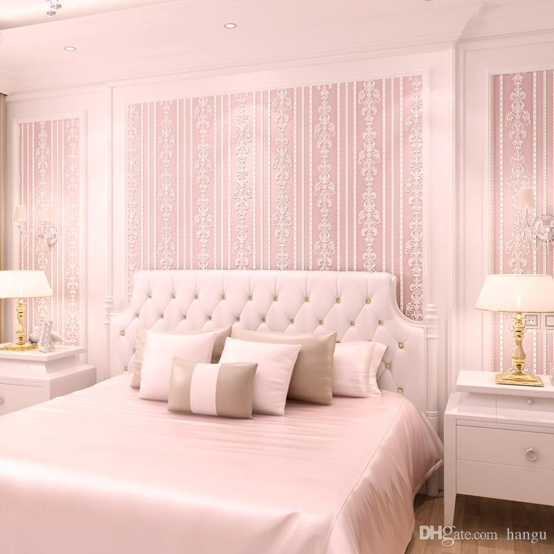 New European Nonwovens Wallpaper Living Room Bedroom 3D Stereo Pink ...