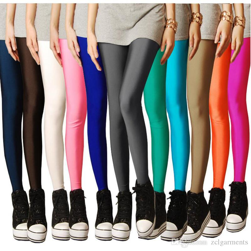 0d02cf1474 2019 Candy Colored Fluorescent Leggings Women 2018 New Summer Shiny High  Stretch Pants Thin Black Red Fitness Workout Legging From Zclgarments, ...