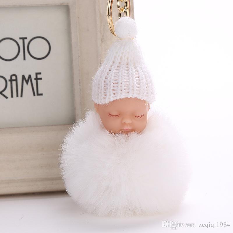 Lovely Sleeping baby Pompon pelliccia soffice Portachiavi Coniglio palla di pelliccia portachiavi portachiavi pompon porte chiave portachiavi