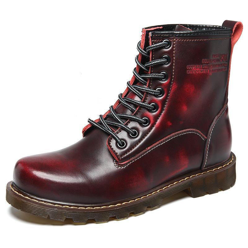 b85fbece Compre Marca Botas Para Hombre Martens De Cuero Zapatos De Invierno Cálido  Motocicleta Para Hombre Botín Doc Martins Otoño Hombres Oxfords Zapatos A  $75.97 ...
