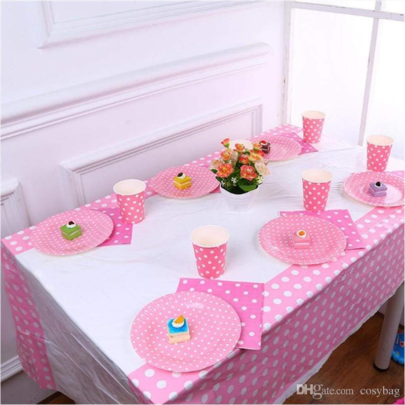 Polka Dots Disposable Plastic Tablecloths 42 X 71 Rectangle Table
