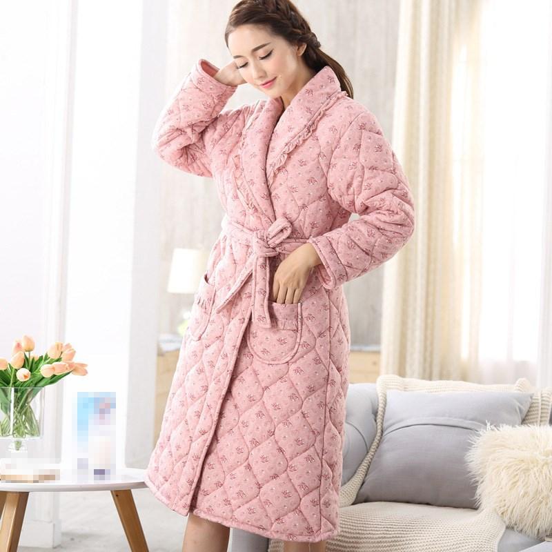 6dc794728d 2019 Winter Men Women Cotton Bath Robe Long Sleeve Thick Kimono Bathrobe  Print Floral Dressing Gown Sleepwear Home Clothes From Wqasysos