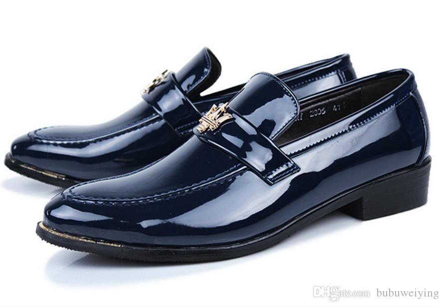[Extra men's business dress shoes leather lace wedding leather shoes a bright paint male head light leather n31