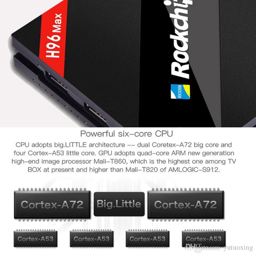 H96 MAX Smart TV Box RK3399 Sechs Kern CPU 4 GB RAM 32 GB ROM 4 Karat Media Player Android Tv Box