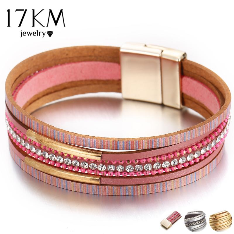 17KM 3 Design Fashion Crystal Charm Bracelets & Bangles For Women 2018 Boho  Multiple Layers Leather Wristband Bracelet Jewelry