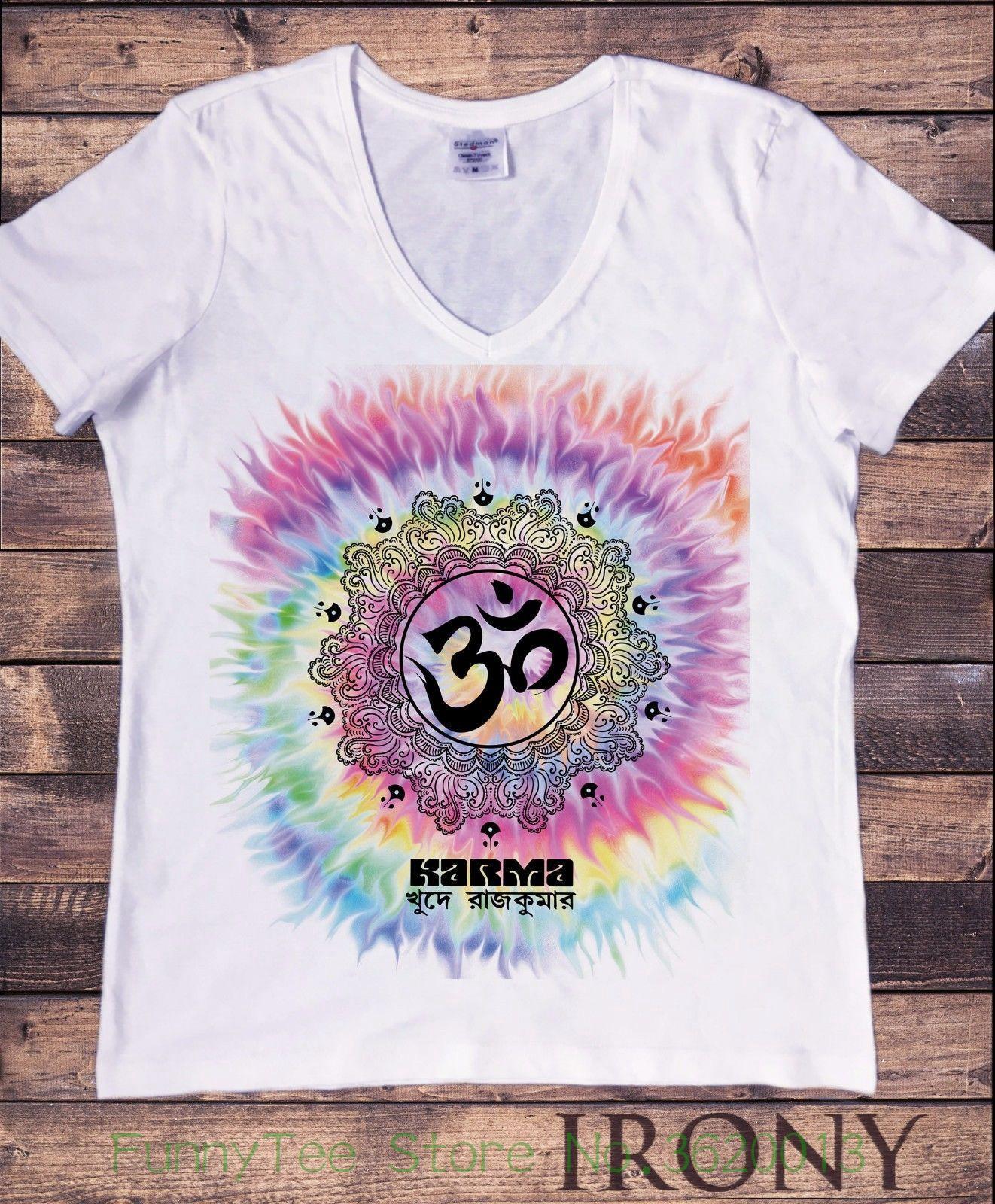 dc428efed7 Women S Tee Blancas De Las Mujeres Cuello En V Camiseta Yogatraining Karma Tie  Dye Meditacion Paz T Shirt Printed Shirt Best Tshirts From Funnyteestore