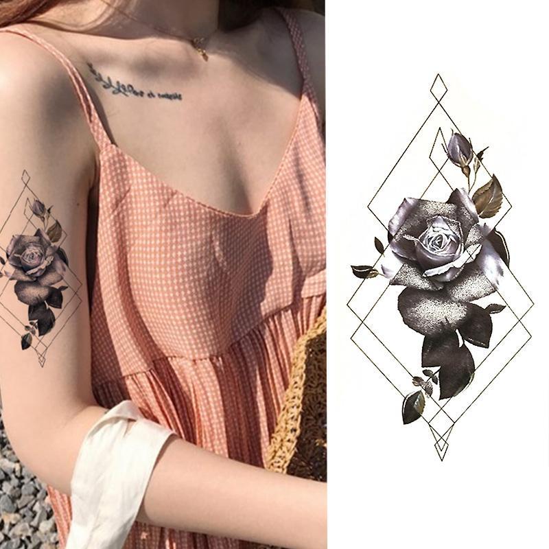 Acheter Autocollant De Tatouage Temporaire 1 Piece Roses Noires