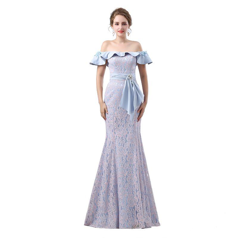 Elegant Mermaid Lace Long Evening Dresses 2018 New Sleeveless ...