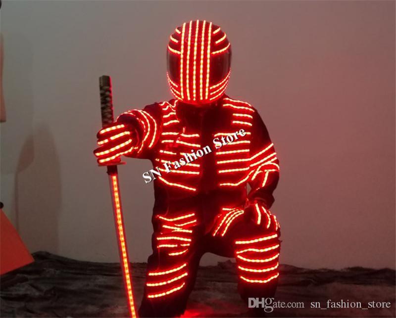 LZ17 LED robot costumi danza robot vestito luminoso RGB luce colorata costumi led bar partito fase indossa vestiti dj casco prestazioni discoteca