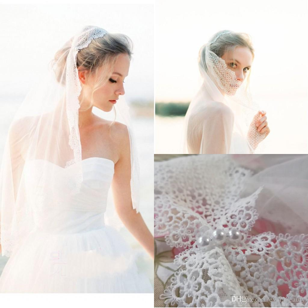 Styles Of Wedding Veils: 2018 New Romatic Country Style Bridal Veils Pearls Elegant