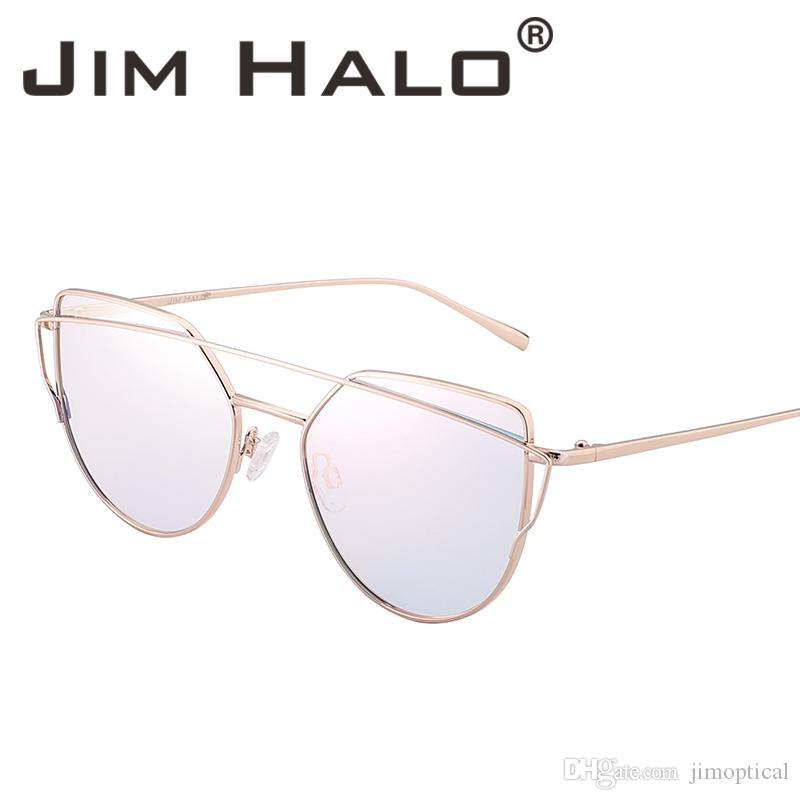 8a70327751 Jim Halo Retro Oversized Cat Eye Mirrored Gradient Flat Lens Twin Beams  Sunglasses Men Women UV400 Sun Glasses Vintage Fashion Wholesale Cateye  Sunglasses ...