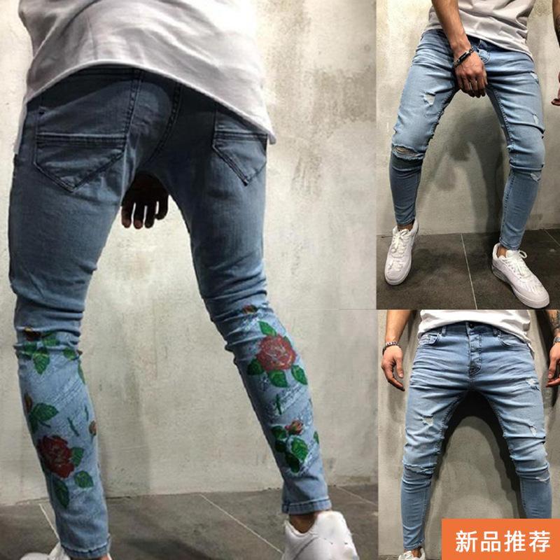 Azul Hombres De Pantalones Elásticos Bordados Los Mezclilla Los Los De Pantalones Nuevos Flacos Pantalones Bordadas Vaqueros Rasgaron Flores Compre Rose Con ExFRqCU