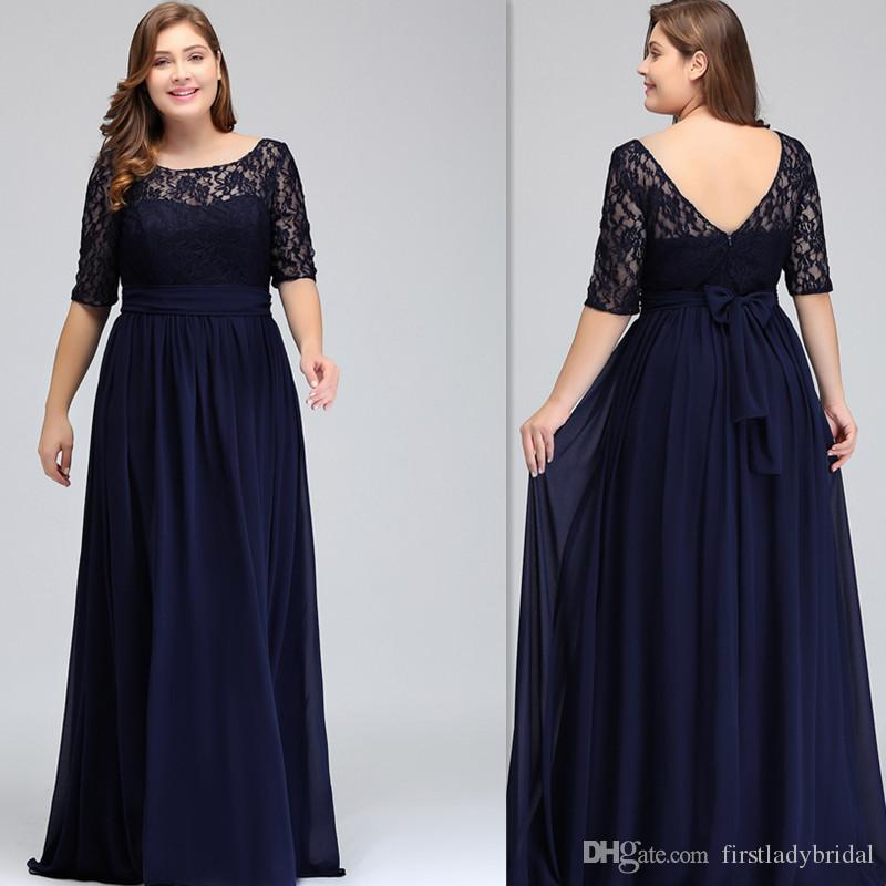 2019 Dark Navy Plus Size Bridesmaid Dresses With Sleeves A Line ...