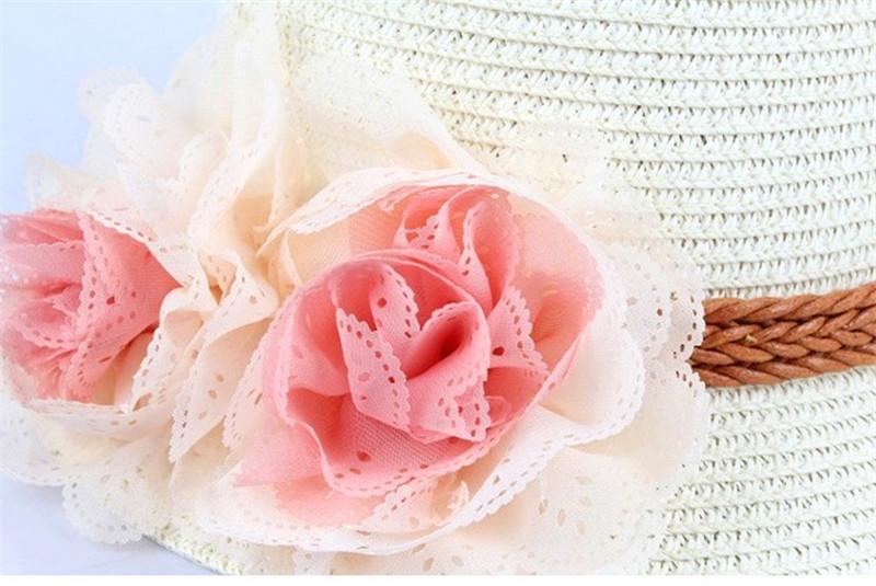Baby Mädchen Blume Kappen Mädchen Sommer Strand Sonnenhut Nettes Baby Zwei Blumen Strohhüte Kinder Stroh Fedora Hut Kinder Jazz Kappe 4 Farben TO505