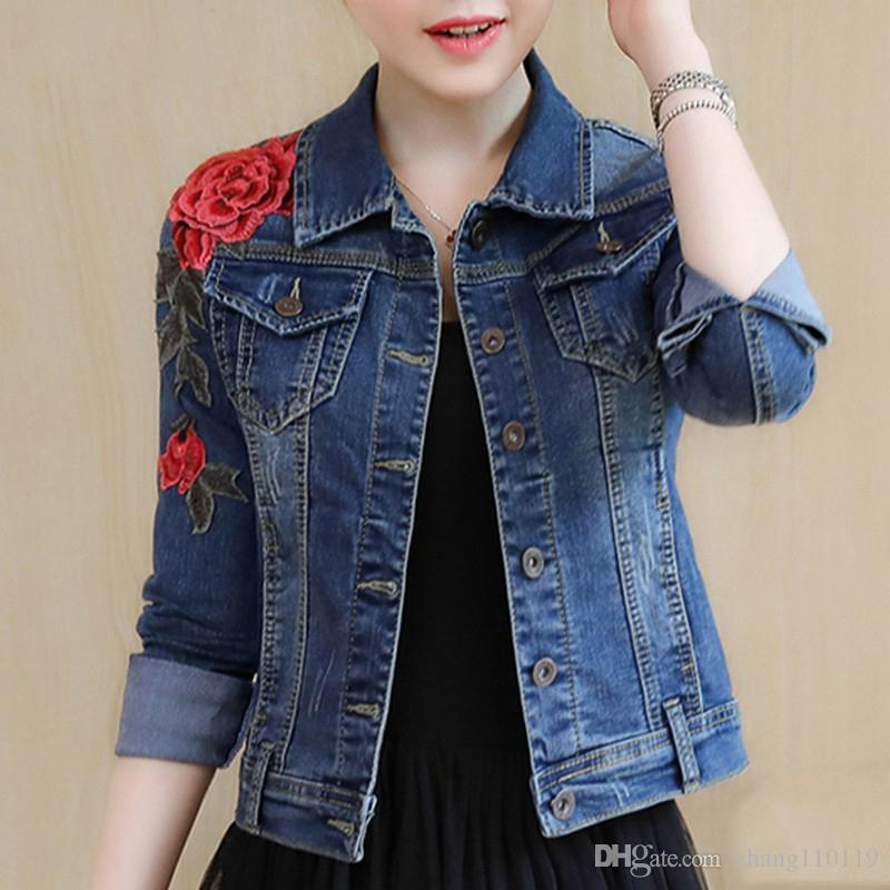 e60e581ed22 Denim Jacket For Wome New Arrival Embroidery Basic Coats Autumn Winter  Floral Long Sleeve Female Jeans Coat Casual Skinny Girls Jackets Womens  Jackets ...