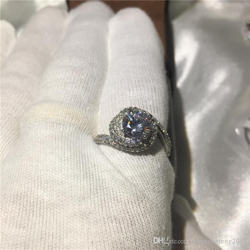 2017 El Yapımı Çapraz yüzük 925 Ayar gümüş 5A beyaz Cz Taş Nişan düğün band yüzükler kadın erkek Takı için size5-10