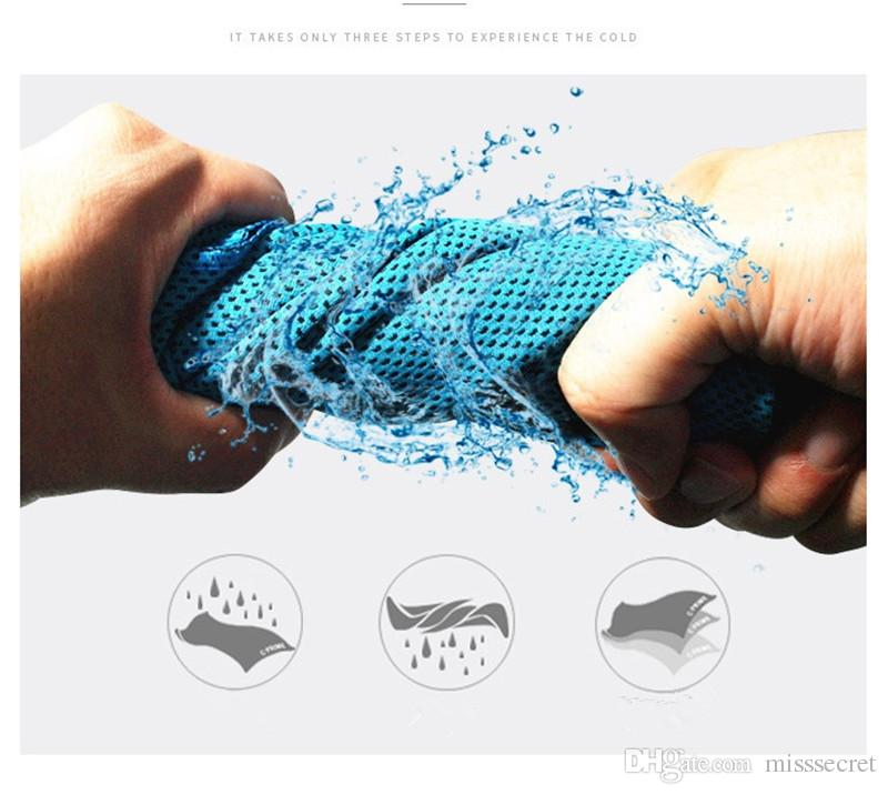 2018 New Sports Towel Cooling Towel Microfiber Fabric Quick Dry Ice Cool Sweat Toalla Gym Cooling Washcloth 100x30cm Con paquete al por menor
