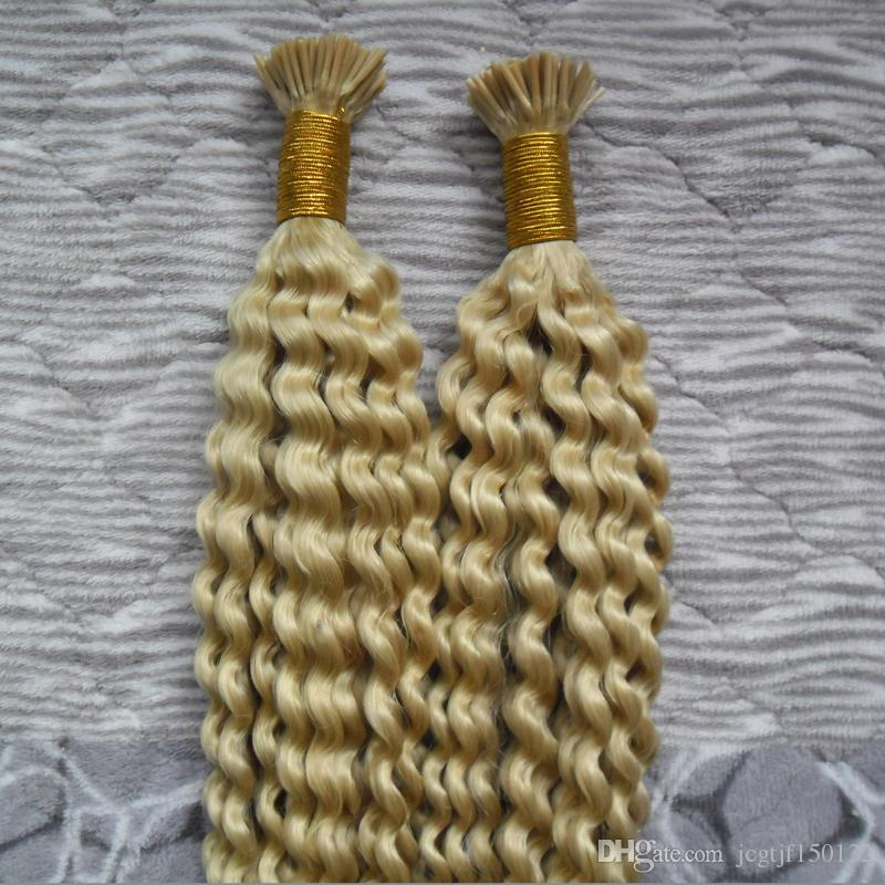 200g #613 Bleach blonde kinky curly Keratin Capsules Human Fusion Hair Nail I Tip Machine Made Remy Pre Bonded Hair Extension