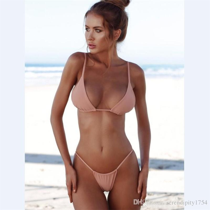 7e12b121d5 2019 Women Fashion Bikinis Summer Holiday Swimsuit G String Thong Bikini  Push Up Swimsuits Sexy Swimwear Girls Bathing Suits Plus Size Swimwear From  ...