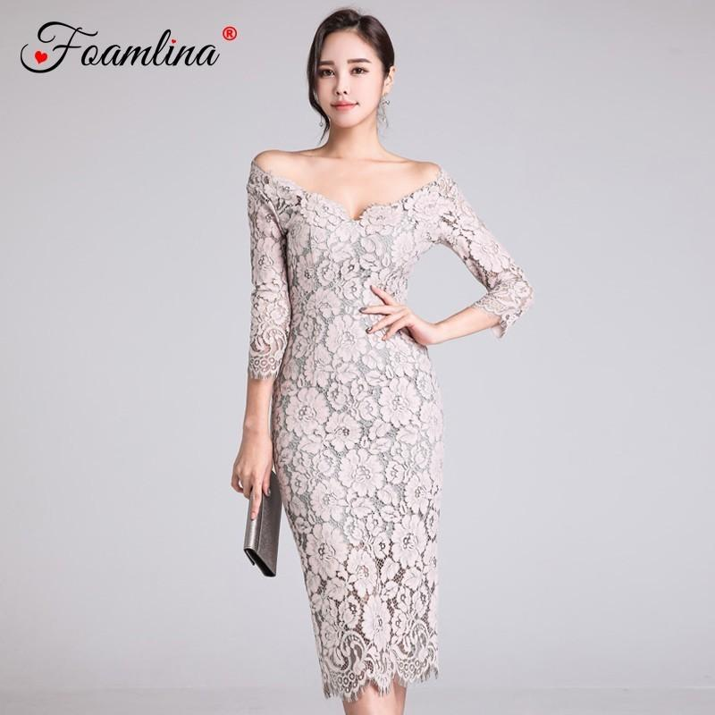d8808ef76764 Foamlina Sexy Floral Lace Bodycon Dress Off Shoulder Evening Party Sheath  Dress Spring Autumn 3/4 Sleeve Women Robe Femme Sundress Online Dress 1 From  Menly ...