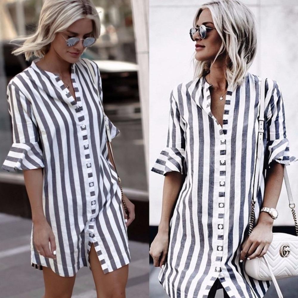 4a2b27f3a Compre Listra Branca Azul Camisas Soltas 2018 Moda Verão Mulheres Meia  Manga Borboleta Blusa Casual Senhoras Assimétricas Longos Tops De Cailey,  ...