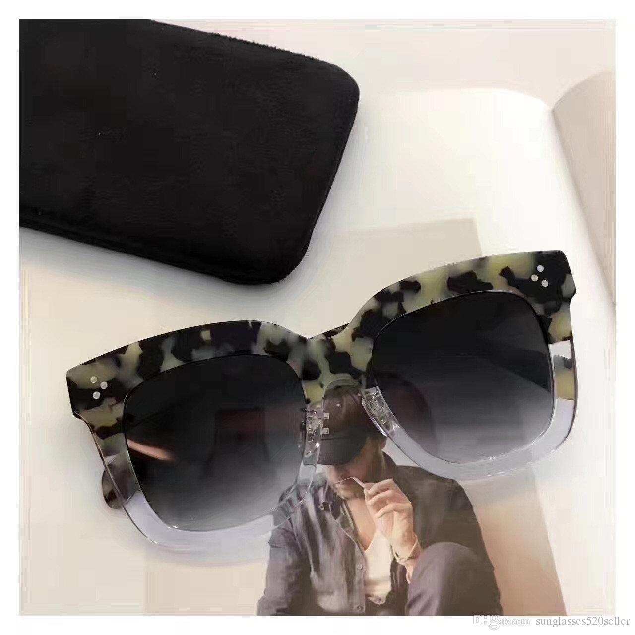 Top Quality Vintage di lusso del progettista delle donne di marca protezione CL41444 occhiali da sole unisex UV Modello Big Frame Telaio Leopard Colore doppio con il caso
