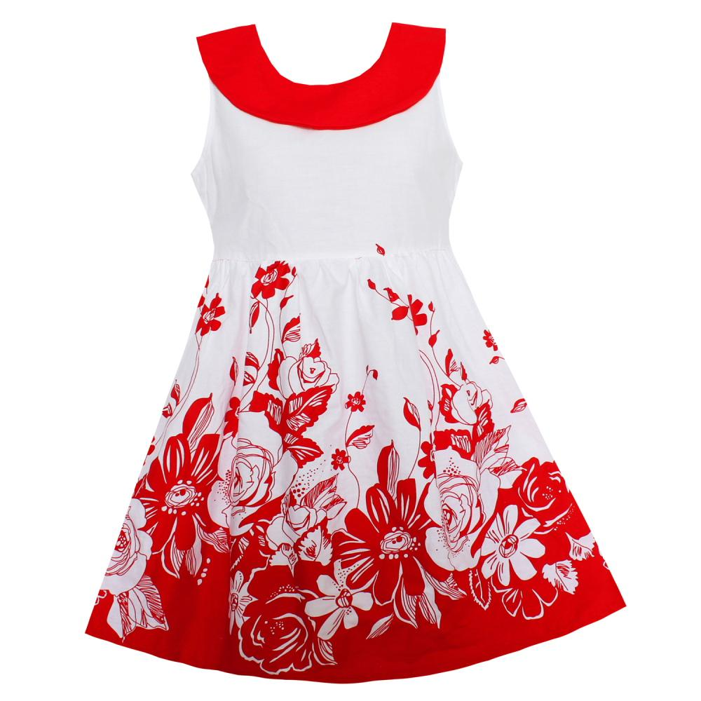 Shybobbi Fashion Girls Dress Red Floral Cotton Dresses Party Birthday Wedding Summer Kids Clothing Size 6-14
