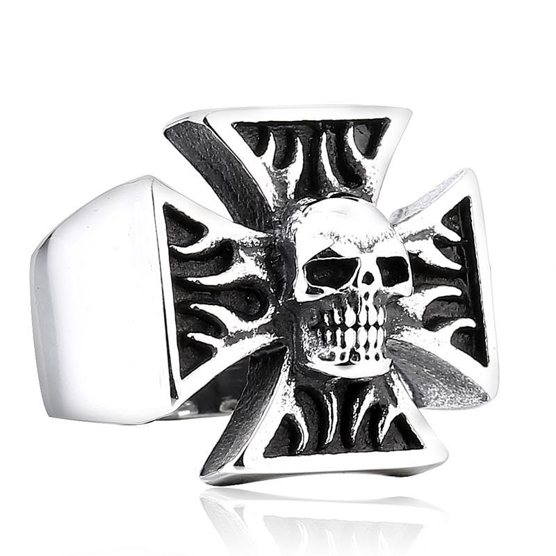 2019 Male Iron Cross Skull Biker Ring Hell Rider Heavy