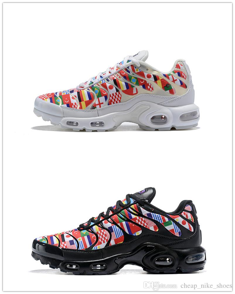 finest selection 6e3a8 cc42d Newest TN MaxS Plus 2018 World Cup International Flag Pack AO5117-100 Men  Women Running Shoes White/Multi-Color Casual Sports Sneakers