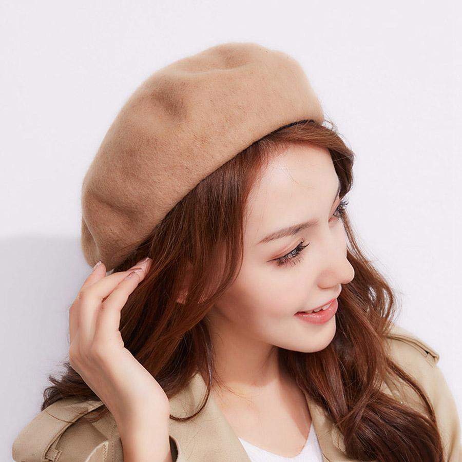 23b25a92c2e07 New Women s Cap Fashion French Beret Flat Hat Spring Casual Wool ...