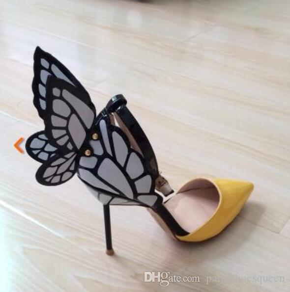 2018 women point toe pumps wings pumps thin heel butterfly high heels wedding shoes Appliques pumps ankle strap