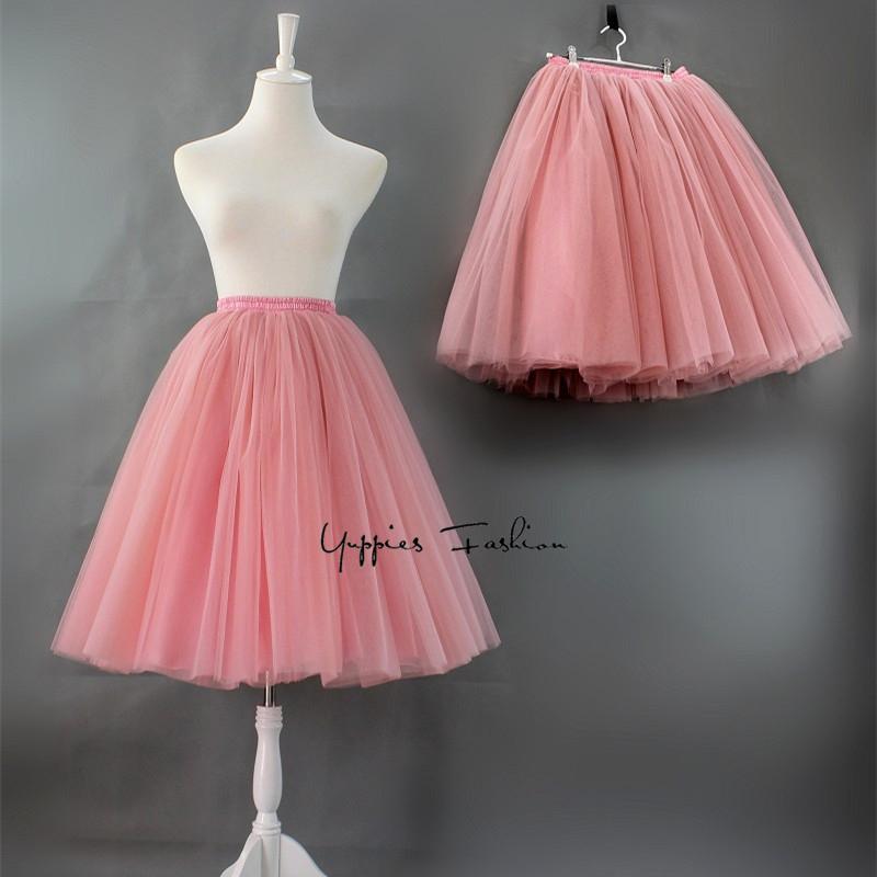 5cbd7bd98 7 capas 60 cm falda de tul de moda plisada faldas tutú para mujer enagua de  Lolita damas de honor de la vendimia falda midi Jupe Saias faldas