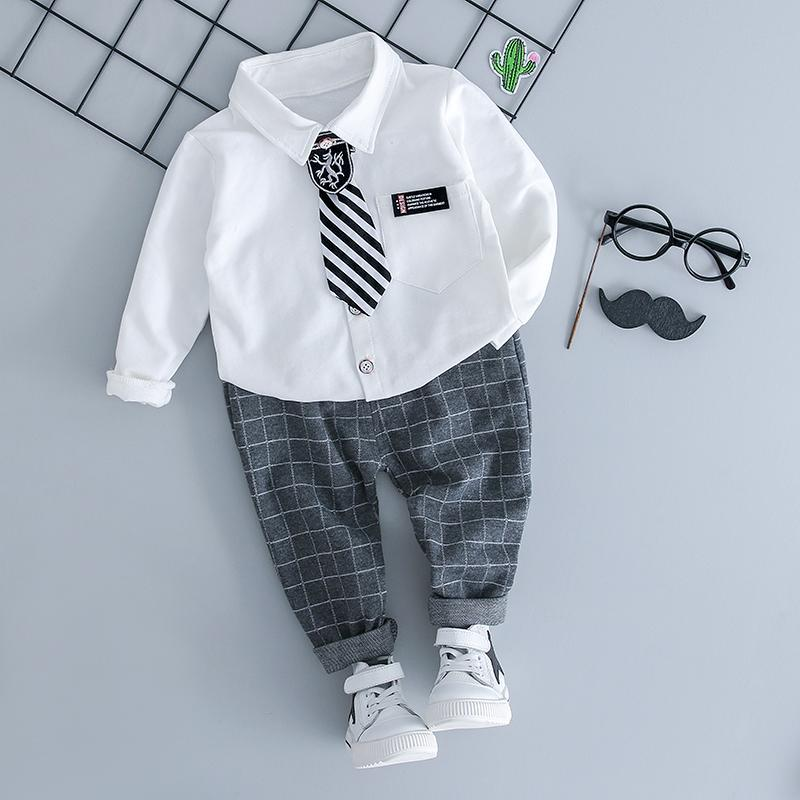 b7c55642be2d Autumn Boy Clothing Sets Infant Baby Clothes Suits Lapel Shirt Grid ...