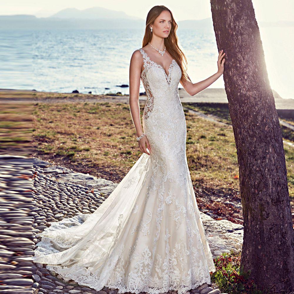 0e8b1152012e1 Classy Mermaid Lace Wedding Dresses Sheer Back V Neck Sleeveless Appliqued Bridal  Gowns Chapel Train Tulle Trumpet Vestido De Novia Cheap Lace Wedding Dress  ...