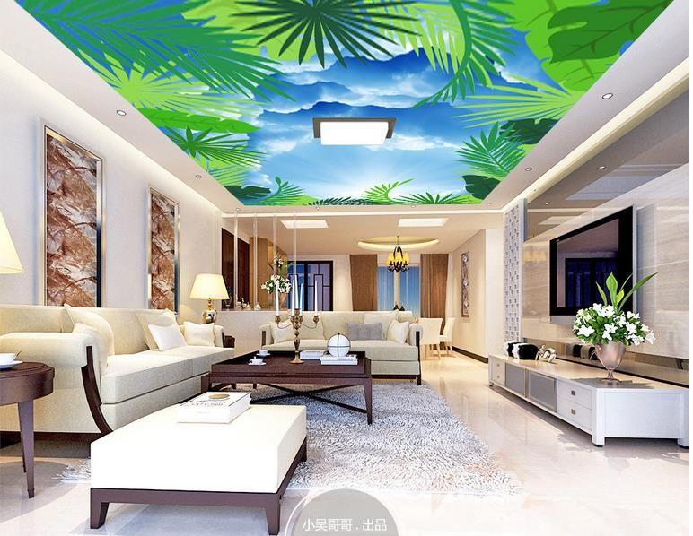 Benutzerdefinierte Decke Wandbild Tapete 3D Pflanze blauen Himmel  Wohnzimmer Schlafzimmer Decke Hintergrund Fototapete Wallcoverings