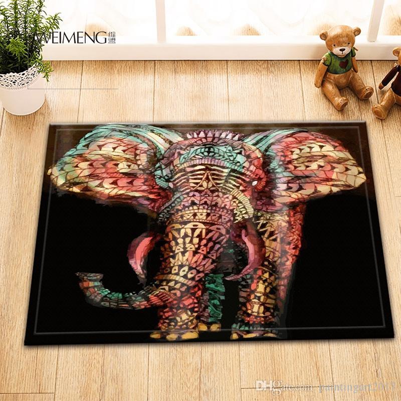 만다라 코끼리 패브릭 욕실 매트와 방수 샤워 커튼