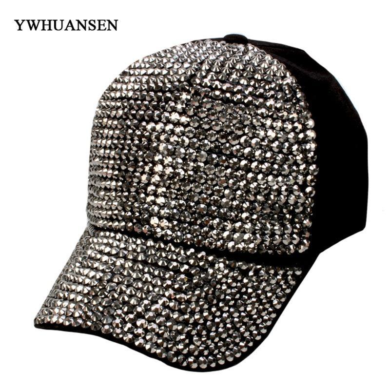 c60cf844fdf YWHUANSEN 2018 Rhinestones Luxury Pearl Sequins Baseball Cap For ...