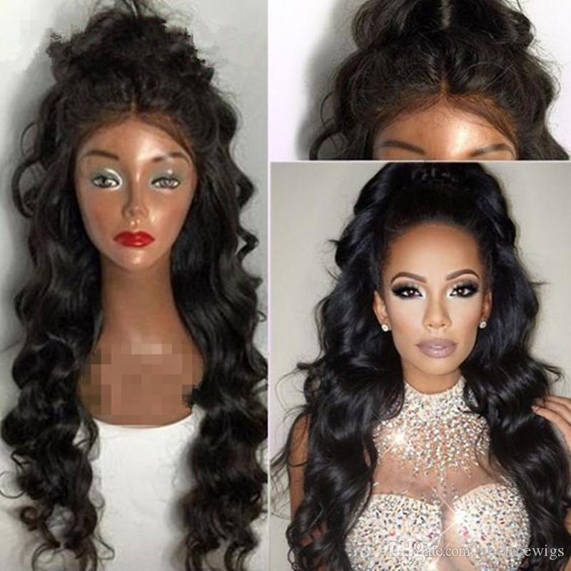 Free Parting 1b# Black Body Wave Long Wavy Cheap Wigs High Quality Heat Resistant Glueless Synthetic Lace Front Wigs for Black Women