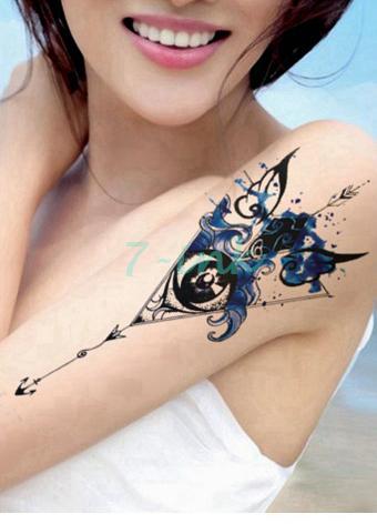 Impermeable Tatuajes Temporales Acuarela Olas Dios Eye Tatoo Estilo