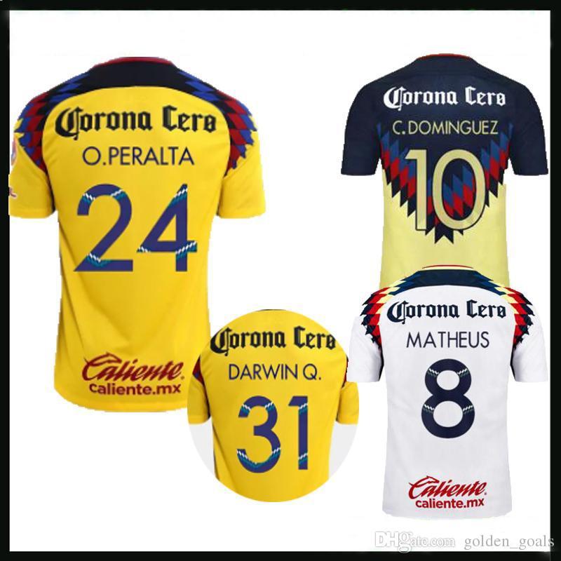 01928343cc5 Tailandia 2017 2018 Liga MX México Club América Camiseta 3 17 18 Camiseta  De Fútbol Club América DOMINGUEZ PERALTA Kit De Camiseta De Fútbol Quintero  Por ...