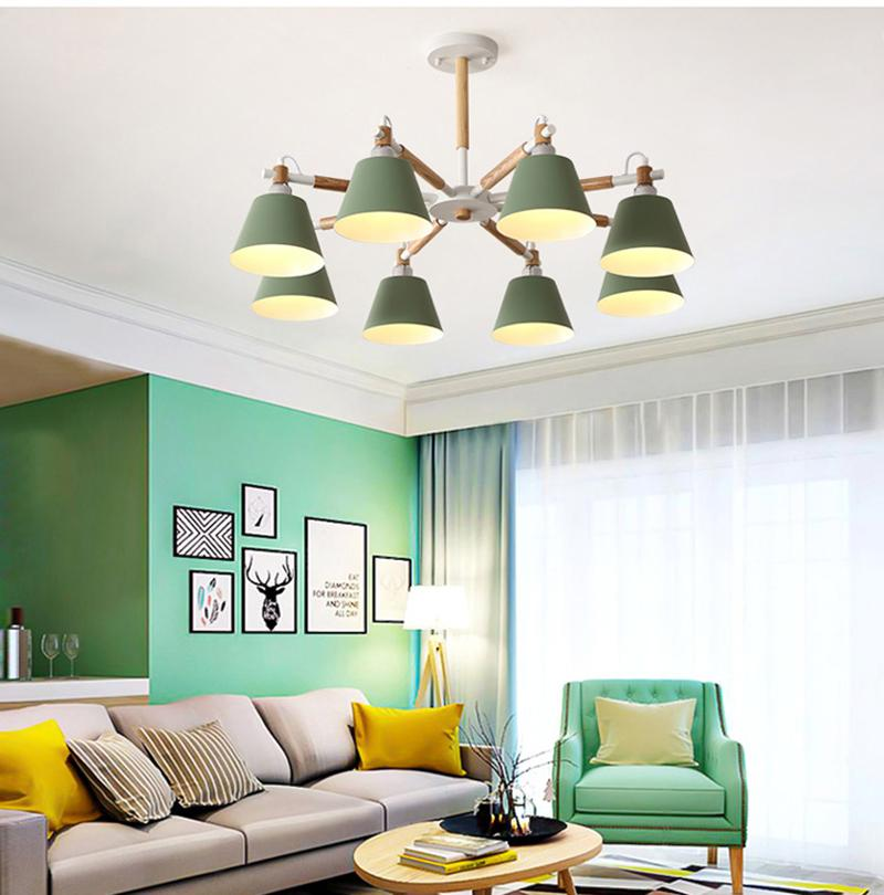 Post modern macaron LED pendant lights colorful E27 lamp holder green blue yellow pink material metal and wood droplight for Kids room study