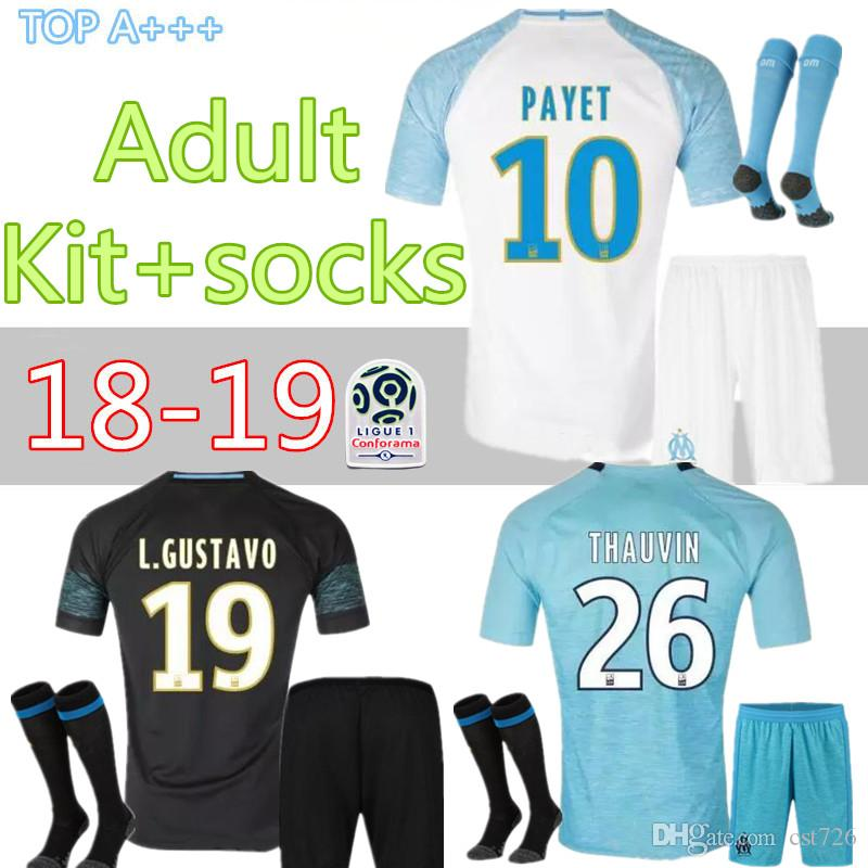 Olympique De Marseille Home Away Third SOCCER Jersey Adult KIT WITH ... 641419288