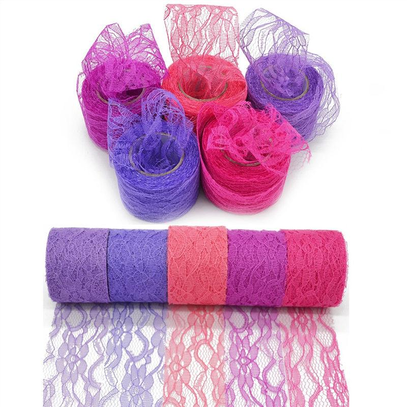 5cm*10Yard Nylon Lace Roll Colorful Tulle Tutu Skirt Fabric Spool Gift Wrap Party Birthday Supplies Wedding Table Decoration