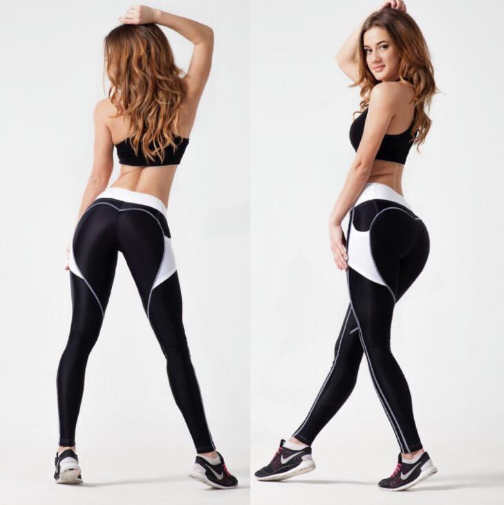 caef050a03589 2019 Heart Yoga Pants Sexy Push Up Hips Sports Leggings Women High Waist  Patchwork Running Tights Gym Fitness Pocket Leggings KKA4528 From  Best_bikini, ...