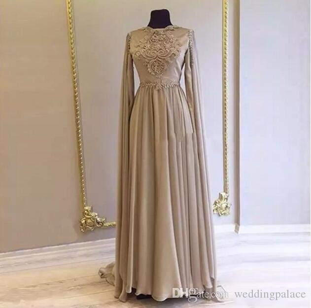 2018 Gorgeous-Line мама невесты платья с длинным рукавом Блестки поясами Jewel шеи Матери платья вечерние платья