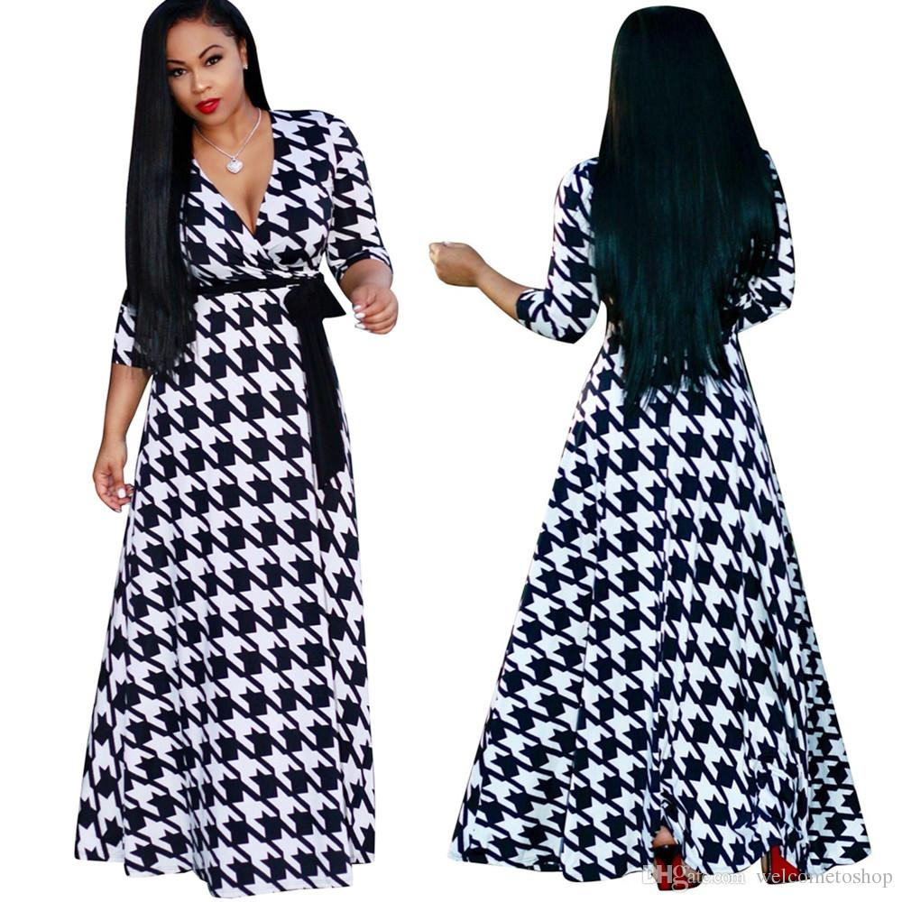 0c59913eb04 Womens Houndstooth Print Sexy Long Maxi Dresses For Female 2018 Spring New  Fashion V Neck Full Length Dress Plus Size Cocktail Prom Dresses Maxi Dress  ...
