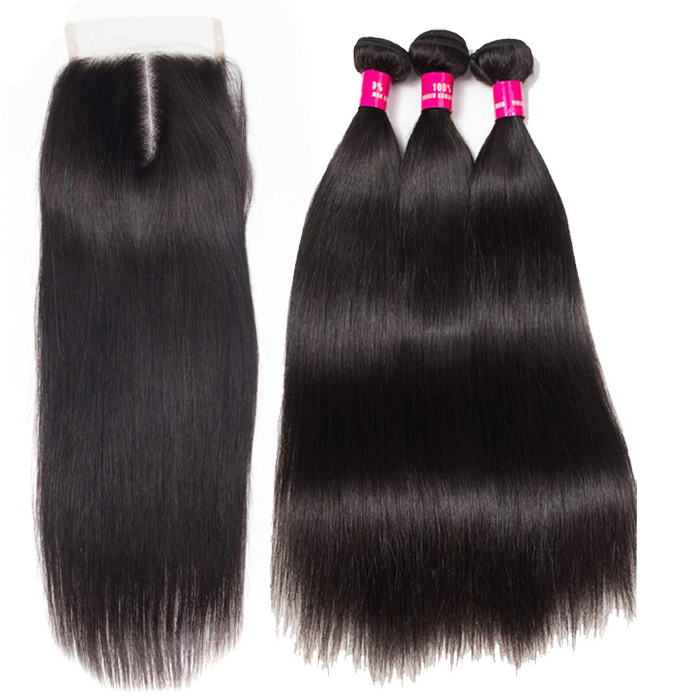 8A Brazilian Virgin Hair With Closure 3 Bundles Brazilian Body Wave Straight Loose With 4x4 Lace Closure 100% Unprocessed Remy Human Hair