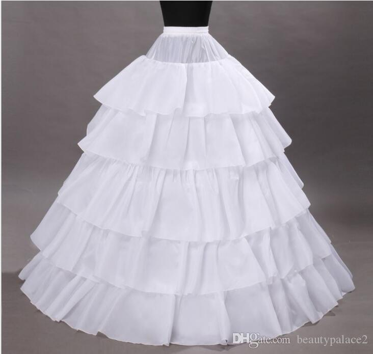 Hot sale 4 Hoops 5 Layers Bridal Petticoats For Ball Gown Wedding Dress Crinoline Ruffles Underskirt White Wedding Accessories For Bride