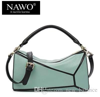 2426ae3568 NAWO Patchwork Cow Genuine Leather Women Shoulder Bags Boston Female ...