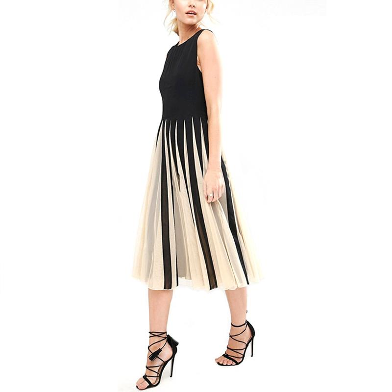 48fcce5205f4b New Women Net Splice Dress Women Summer Fashion O-neck Sleeveless Pleated  Dress 731652
